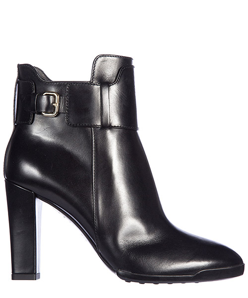 Women's leather ankle boots booties gomma fibbia
