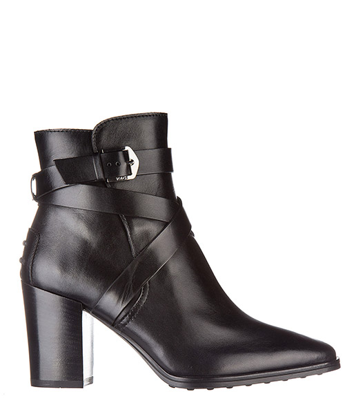 Women's leather heel ankle boots booties tronchetto cinturino