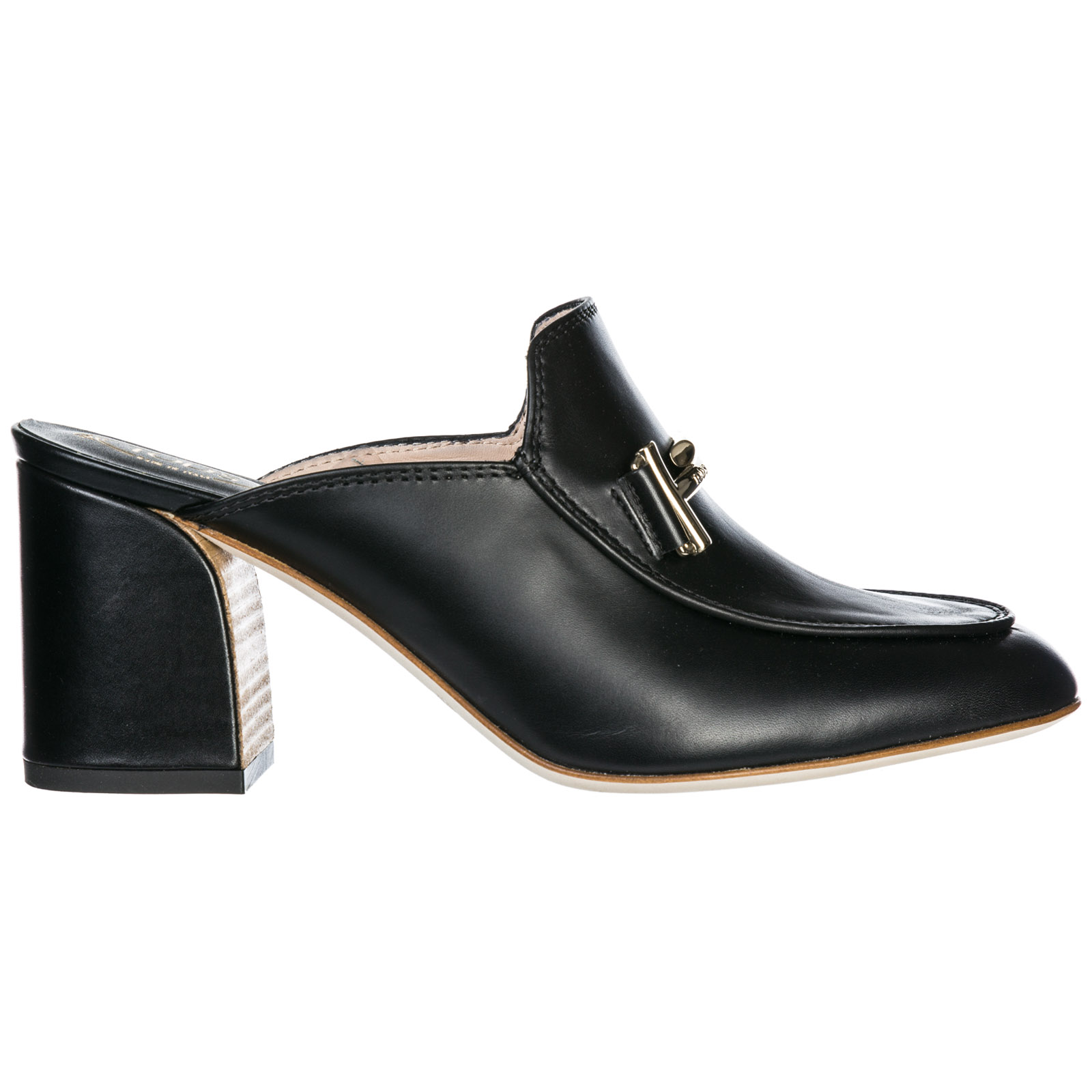 Tod's Women's Leather Mules Clogs Double T In Black