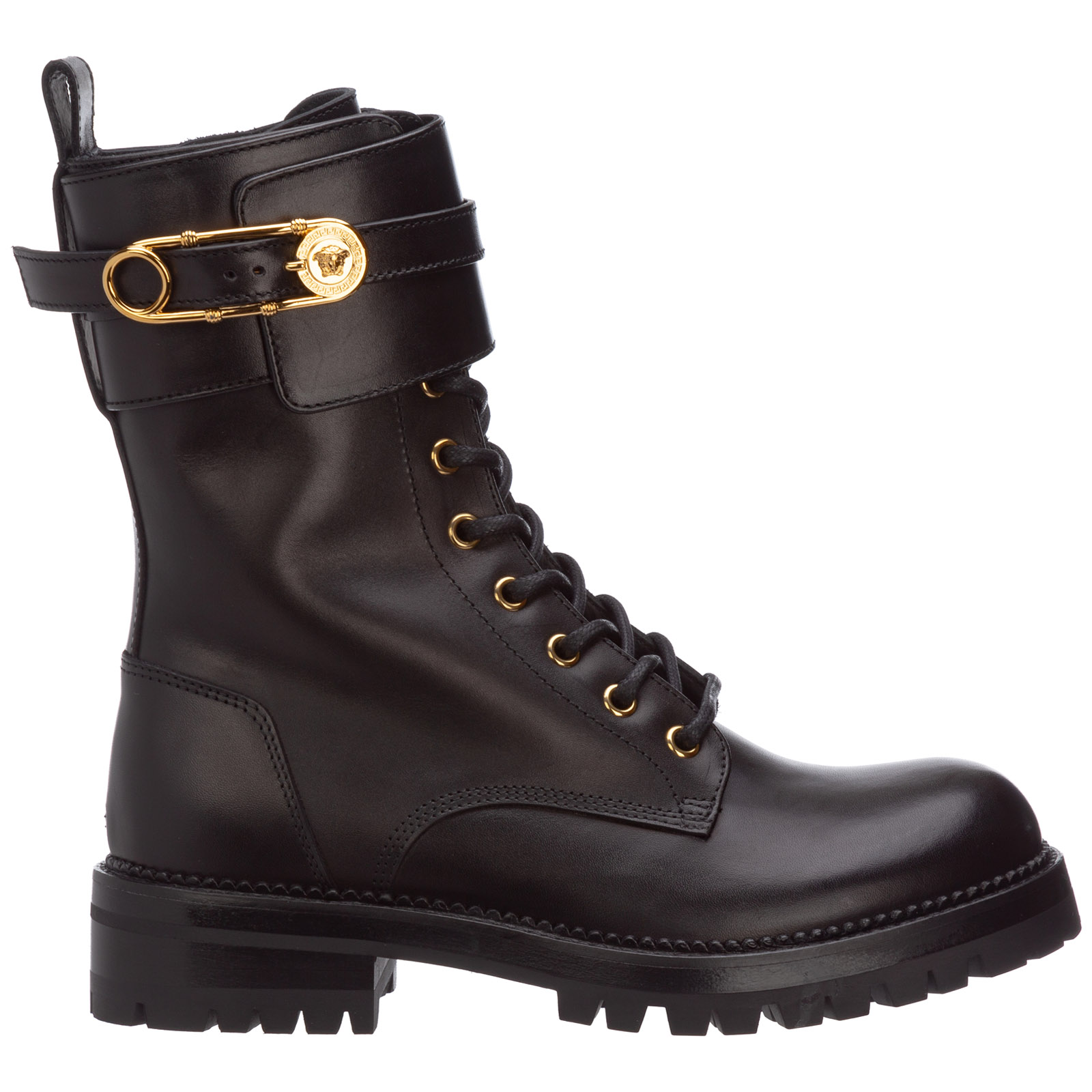 Versace Leathers WOMEN'S LEATHER COMBAT BOOTS SAFETY PIN
