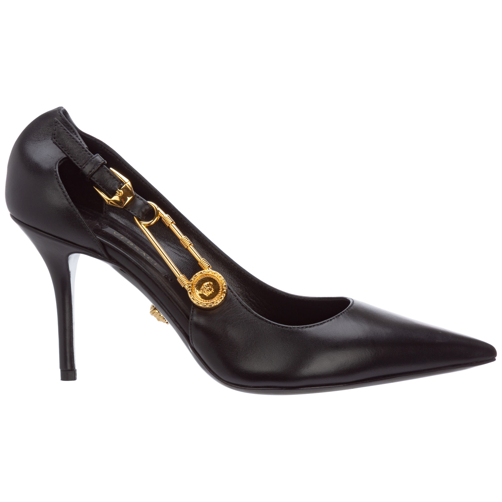 Versace Leathers WOMEN'S LEATHER PUMPS COURT SHOES HIGH HEEL SAFETY PIN