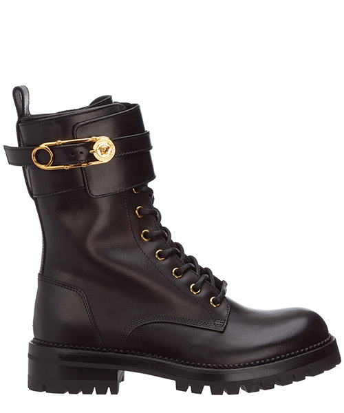 Combat boots Versace Safety Pin DST419E-DVTA3_D41OH nero