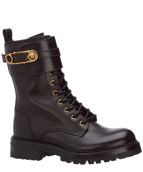 Women's leather combat boots safety pin secondary image
