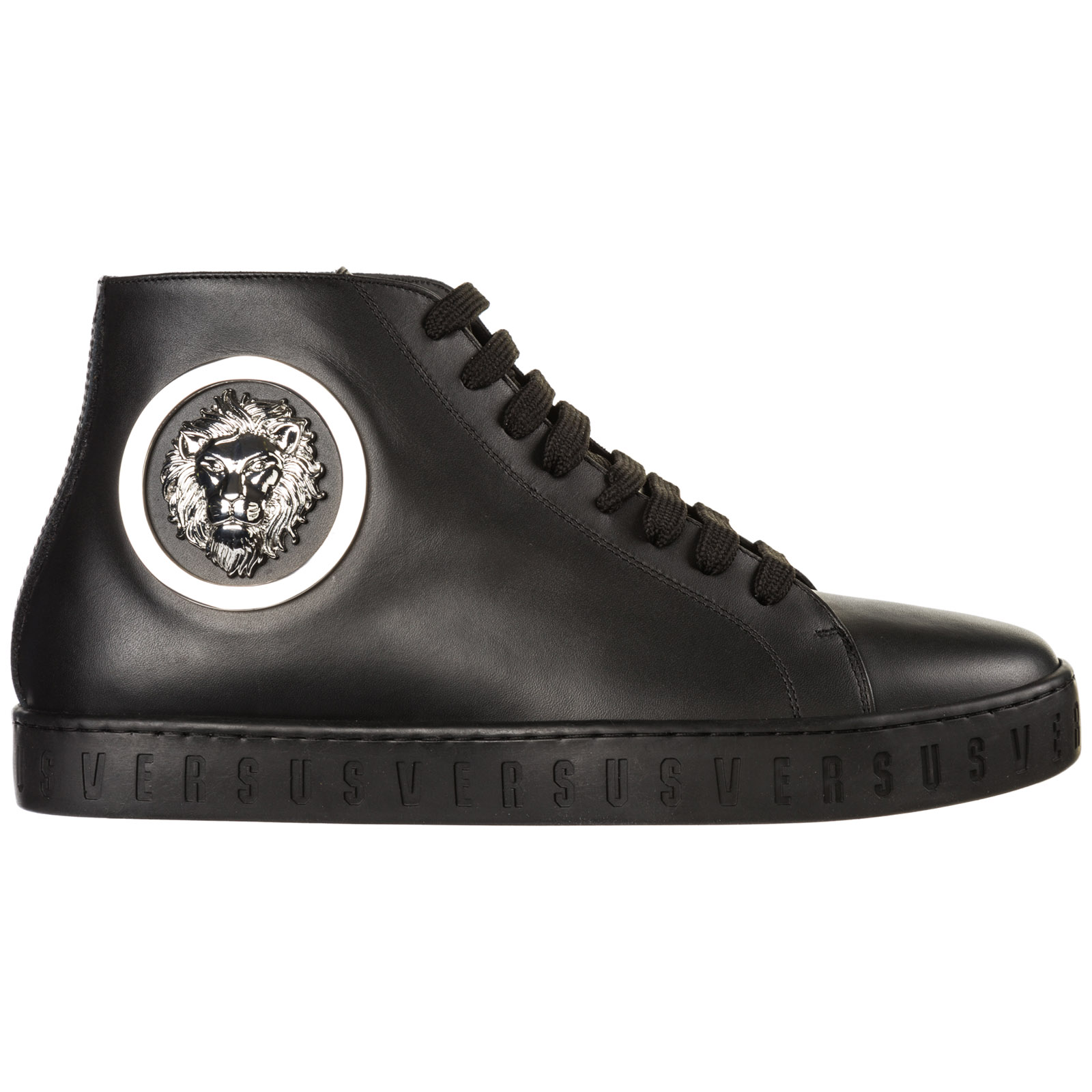 a9c2ea9196d Versus Versace Men s shoes high top leather trainers sneakers lion head