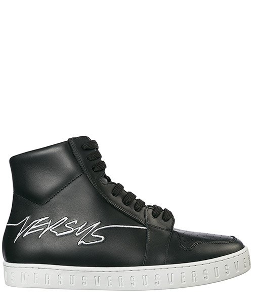Men's shoes high top leather trainers sneakers versus
