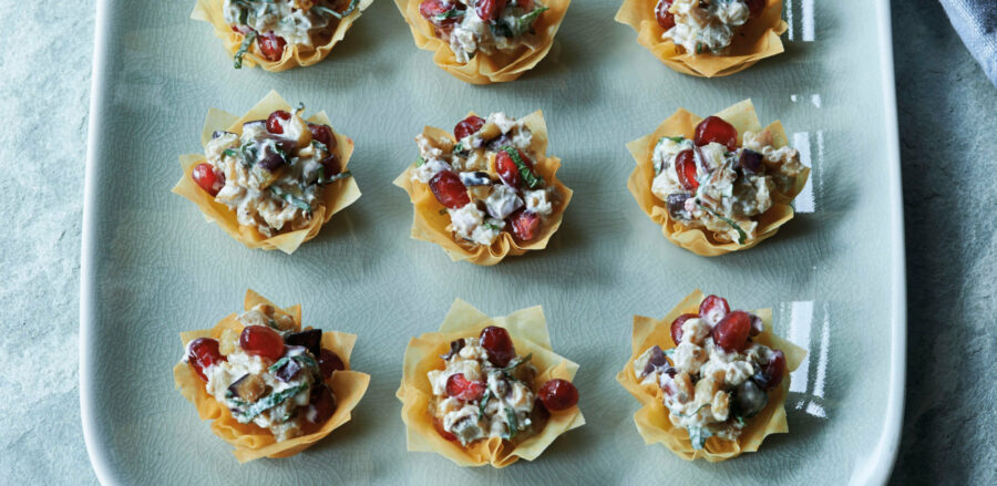 Aubergine and Pomegranate Strudel Tartlets