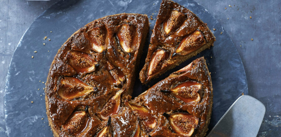 Turkish fig cake with pomegranate syrup