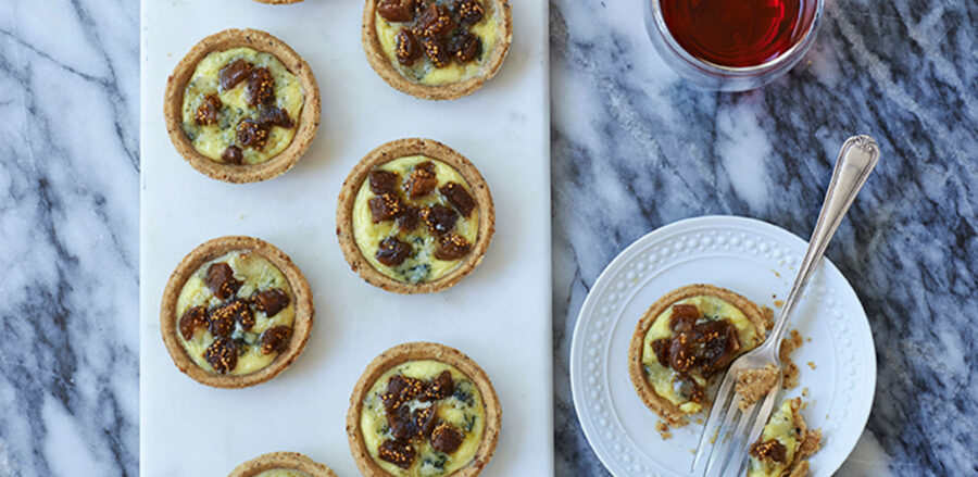 Stilton, fig and walnut tartlets