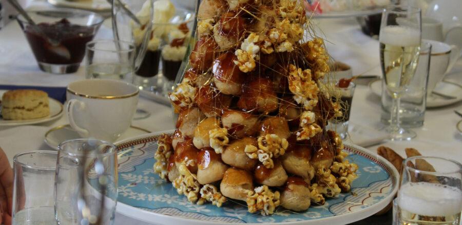 Salted Caramel Popcorn Croquembouche