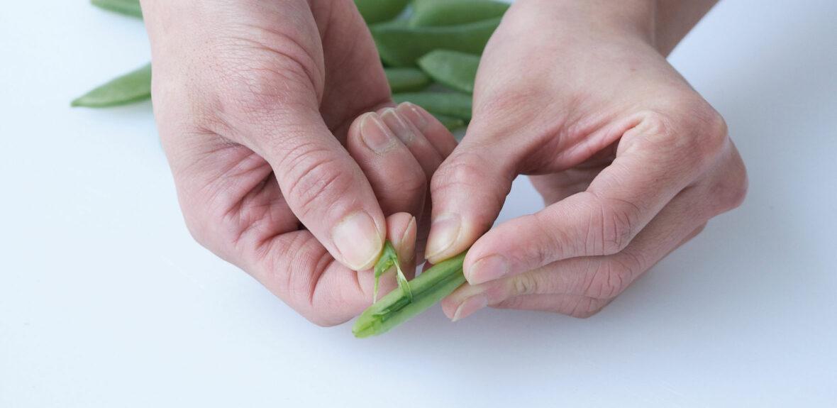 Prepare beans, mangetout and sugar snaps