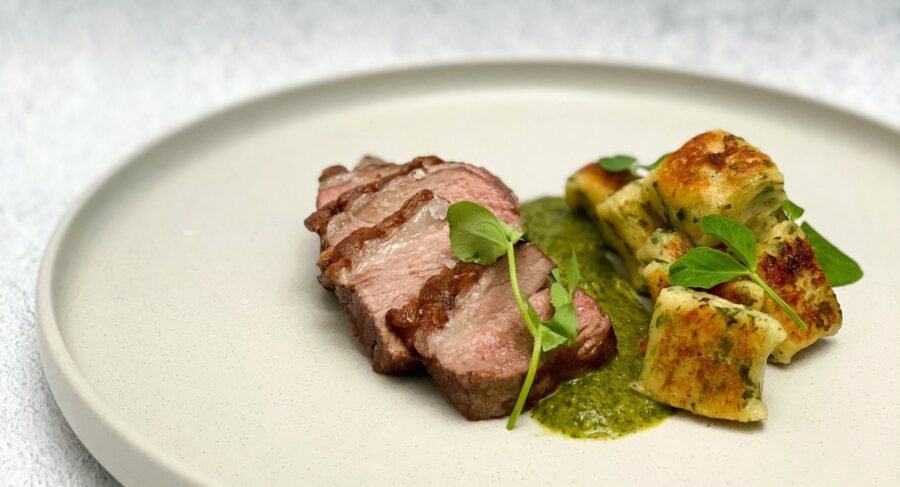 Spring Main: Lamb Rump, Herbed Gnocchi and Salsa Verde