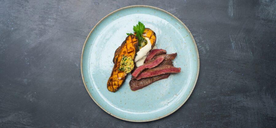 Sirloin Steak, Baked Sweet Potatoes with a Chilli Butter