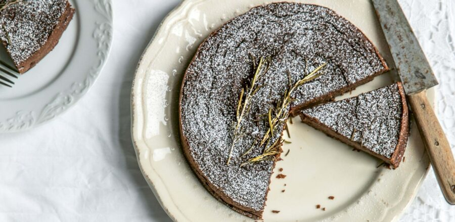 Skye McAlpine's Flourless Chocolate, Chestnut & Rosemary Cake #LeithsTakeovers
