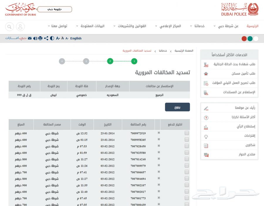 المخالفات المرورية على السيارات السعودية في دبي
