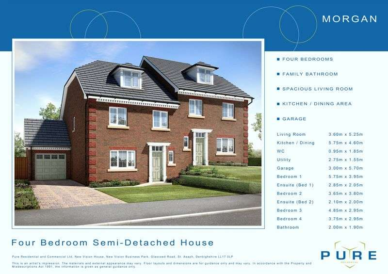 4 Bedrooms Semi Detached House for sale in Plot 3, Llys Chatsworth