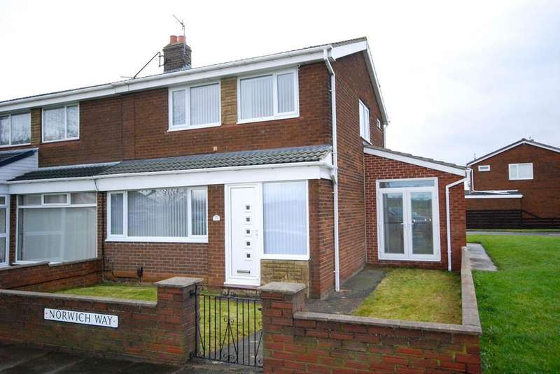 3 Bedrooms Semi Detached House for sale in Norwich Way, Fellgate, Jarrow