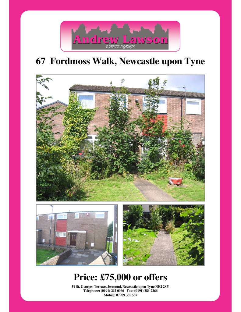 3 Bedrooms End Of Terrace House for sale in Fordmoss Walk, Newcastle upon Tyne NE5