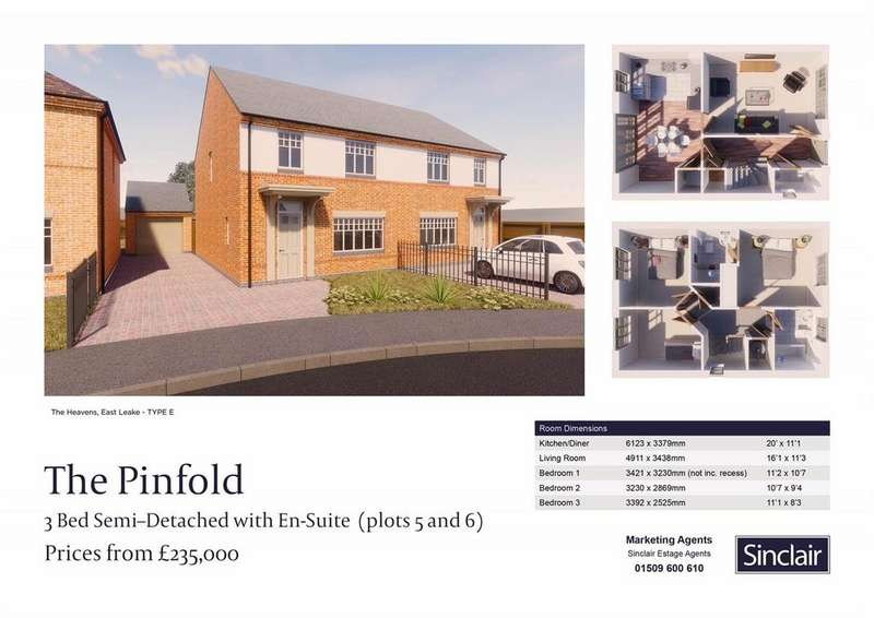 3 Bedrooms Semi Detached House for sale in The Heavens - Hardy Way, East Leake, Leicestershire
