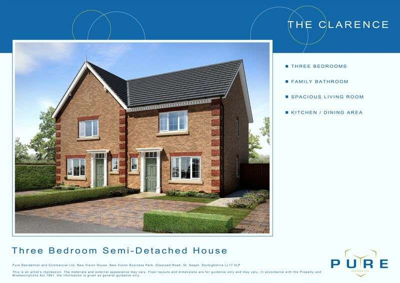 3 Bedrooms Semi Detached House for sale in Plot 2, Llys Chatsworth