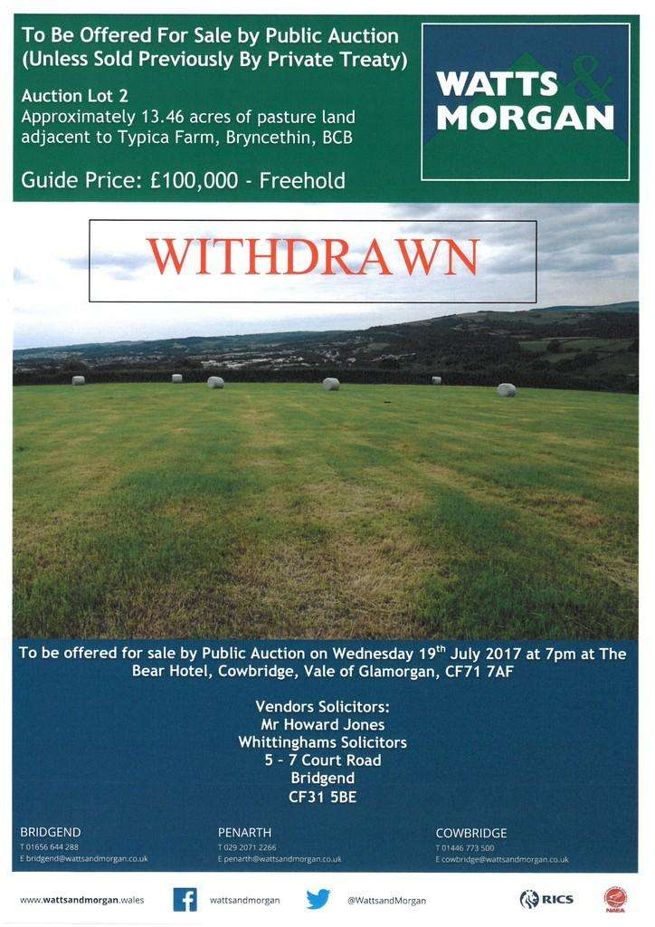 Land Commercial for sale in LOT 2, WITHDRAWN Approx. 13.46 Acres of Land at Bryncethin