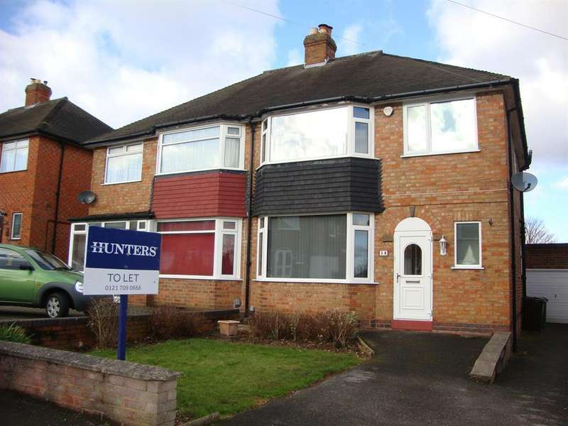 3 Bedrooms Semi Detached House for rent in Chapel Fields Road, Solihull, B92 7RX