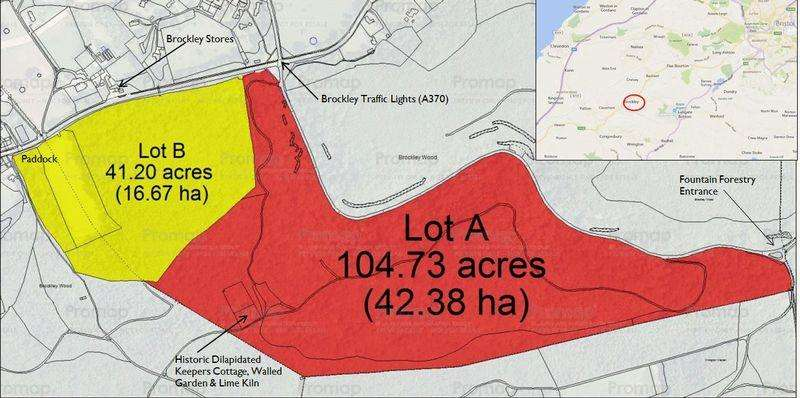 Land Commercial for sale in 104.73 Acres Woodland at Brockley Combe, North Somerset BS48 3DF. Other Lots Available