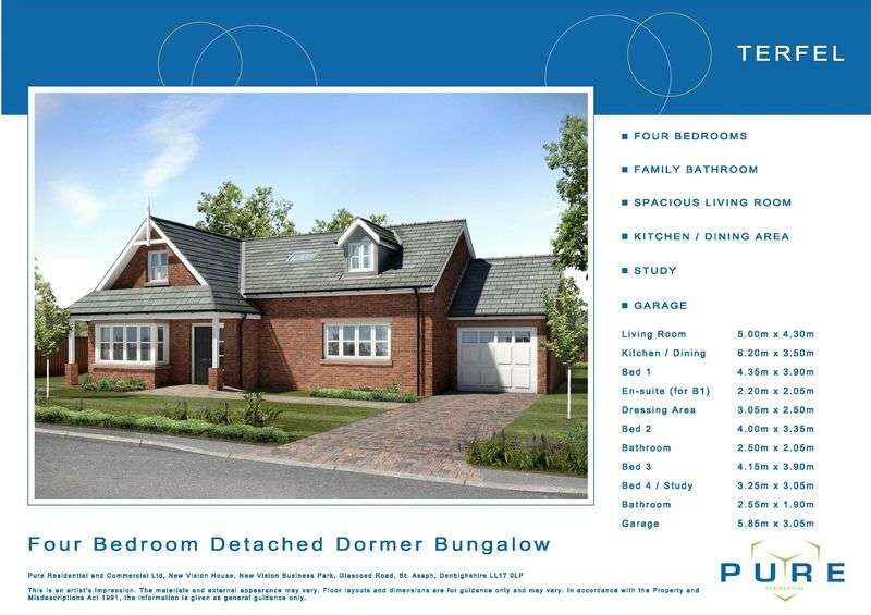 4 Bedrooms Detached Bungalow for sale in New Development, Plot 44, Livingstone Place, St. Asaph