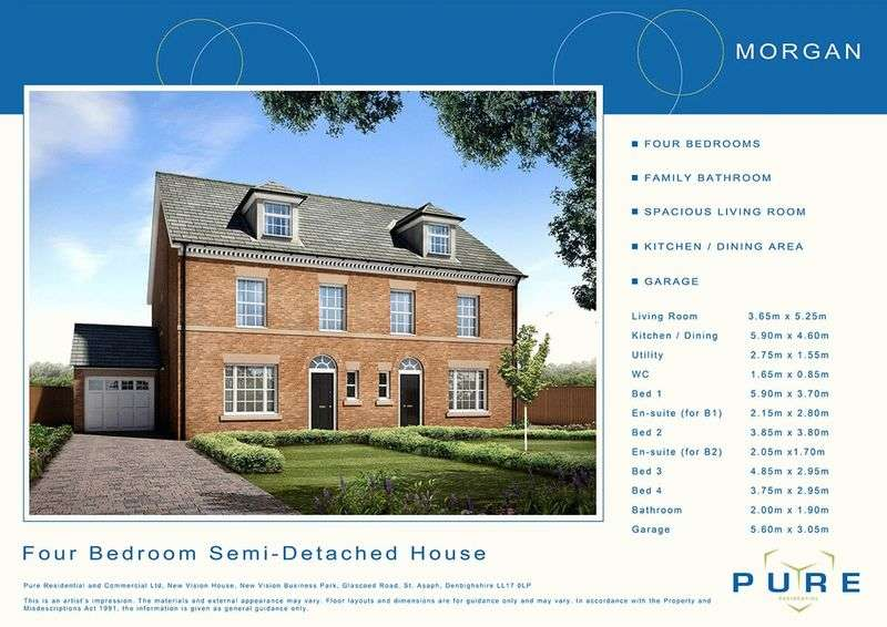 4 Bedrooms Semi Detached House for sale in Plot 37, Livingstone Place, St. Asaph