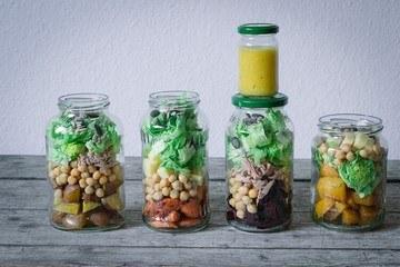 Rezept 4 x Salat im Glas als Meal Prep