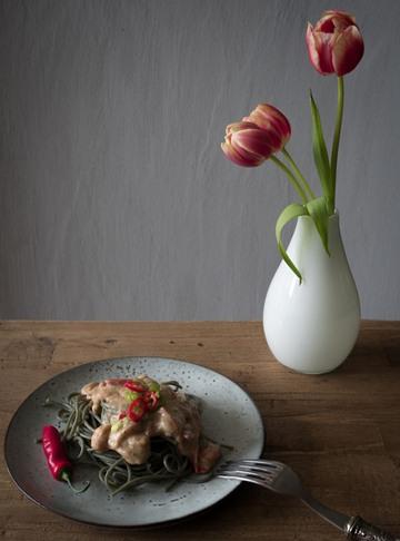 Rezept Algen Pasta mit tomatiger Mandelsauce