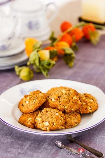Rezept Apfel-Dinkelvollkorn-Cookies mit Nüssen und Rosinen