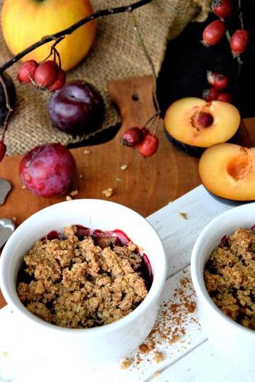 Rezept Apfel-Pflaumen-Crumble (vegan)