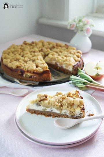 Rezept Apfel-Rhabarber-Käsekuchen mit Walnuss-Streusel-Decke