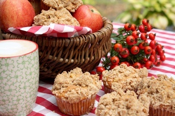 Rezept Apfel Walnuss Muffins mit Zimtstreuseln