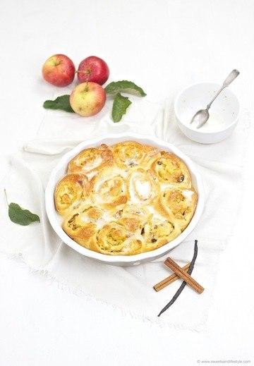 Rezept Apfel Zimt Schnecken mit Zuckerguss