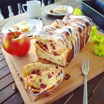 Rezept Apfel-Zupfbrot mit Cranberries und Limette