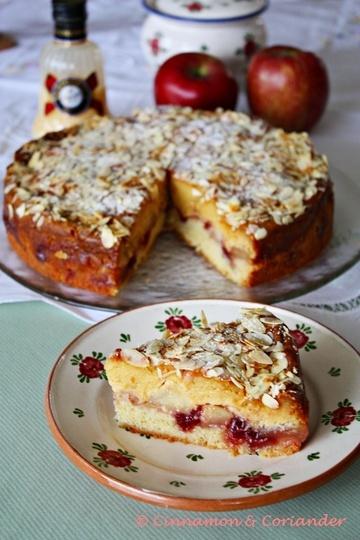 Rezept Apfelkuchen mit Preiselbeeren & Eierlikör Schmand Guss