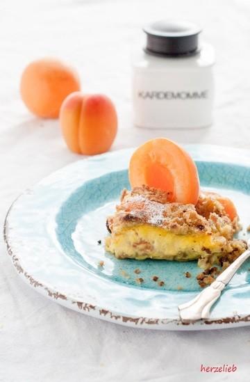 Rezept Aprikosenkuchen mit eingebackener Vanillecreme