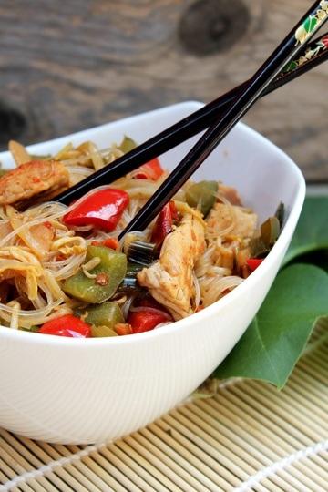 Rezept Asiatische Fadennudel-Paprika-Pfanne