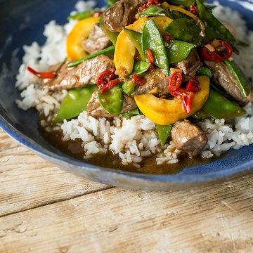 Rezept Asiatische Rinderfiletstreifen mit Ingwer und Reis
