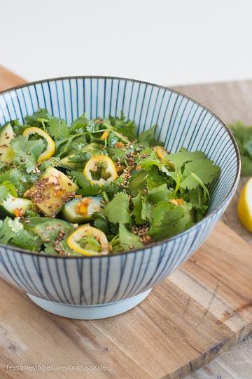 Rezept Asiatischer Gurkensalat mit Ingwer, Sesam und Koriander