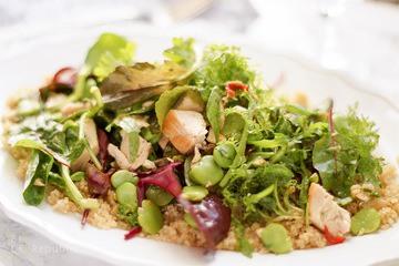 Rezept Asiatischer Quinoa-Salat mit Huhn und Dicken Bohnen