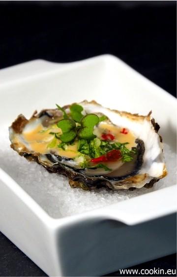 Rezept Austern mit Miso-Vinaigrette, Koriander und Chili