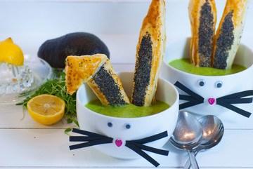 Rezept Avocado Kresse Suppe mit knusprigen Hasenohren