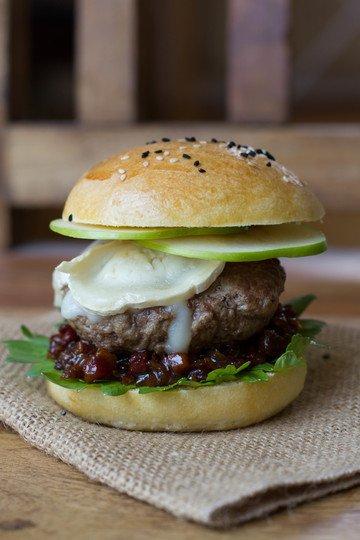 Rezept Bacon Jam Burger mit Apfel und Ziegenkäse