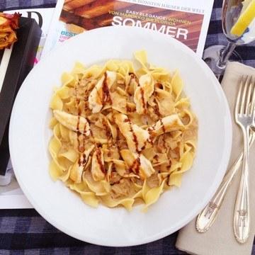 Rezept Balsamico-Sahne-Hähnchen auf Pasta