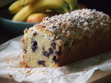 Rezept Banana Bread mit Heidelbeeren und Streusel