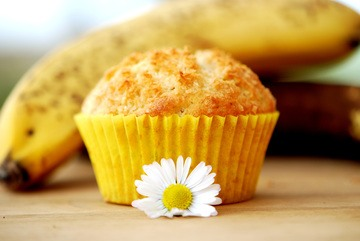Rezept Bananen-Kokos Muffins gefüllt mit Ananas-Marmelade