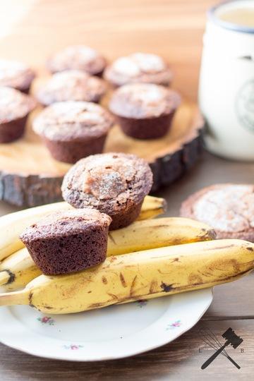 Rezept Bananen und Schokolade Crinkle Muffins