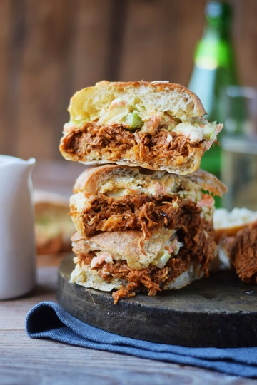 Rezept BBQ Pulled Chicken Ciabatta Burger